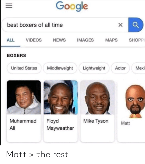 videos: Google  best boxers of all time  SHOPPI  ALL  VIDEOS  NEWS  IMAGES  MAPS  BOXERS  Lightweight  Mexi  United States  Middleweight  Actor  Muhammad  Floyd  Mayweather  Mike Tyson  Matt  Ali  II Matt > the rest