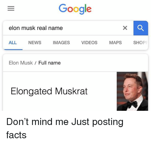 Elongated: Google  elon musk real name  ALL NEWS IMAGES VIDEOS MAPS SHOP  Elon Musk  Full name  Elongated Muskrat Don't mind me  Just posting facts