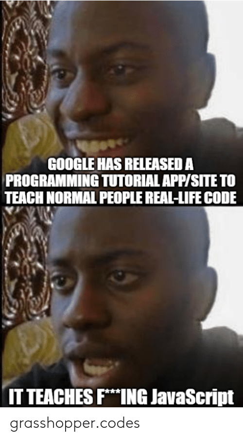 fing: GOOGLE HAS RELEASED A  PROGRAMMING TUTORIAL APP/SITE TO  TEACH NORMAL PEOPLE REAL-LIFE CODE  IT TEACHES FING JavaScript grasshopper.codes
