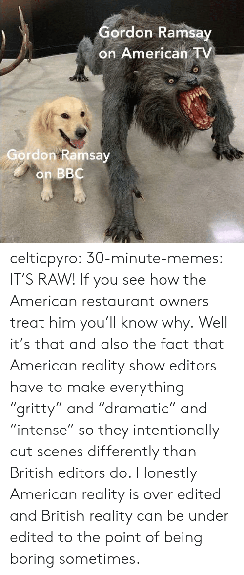 """Gordon Ramsay, Memes, and Tumblr: Gordon Ramsay  on American TV  Gordon Ramsay  on BBC celticpyro: 30-minute-memes: IT'S RAW! If you see how the American restaurant owners treat him you'll know why.   Well it's that and also the fact that American reality show editors have to make everything """"gritty"""" and """"dramatic"""" and """"intense"""" so they intentionally cut scenes differently than British editors do. Honestly American reality is over edited and British reality can be under edited to the point of being boring sometimes."""