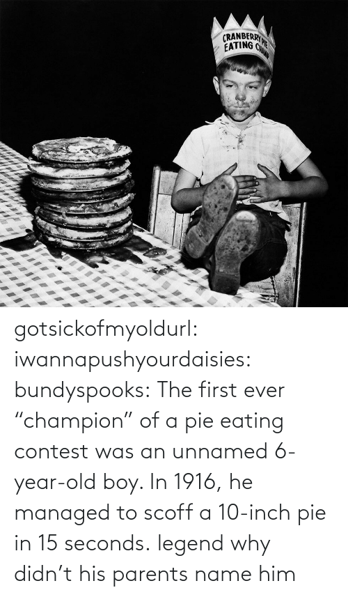 """eating: gotsickofmyoldurl: iwannapushyourdaisies:  bundyspooks:  The first ever """"champion"""" of a pie eating contest was an unnamed 6-year-old boy. In 1916, he managed to scoff a 10-inch pie in 15 seconds.  legend  why didn't his parents name him"""