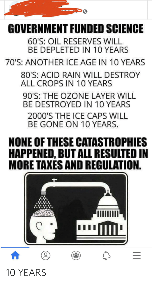 80s, Taxes, and Ice Age: GOVERNMENT FUNDED SCIENCE  60'S: OIL RESERVES WILL  BE DEPLETED IN 10 YEARS  70'S: ANOTHER ICE AGE IN 10 YEARS  80'S: ACID RAIN WILL DESTROY  ALL CROPS IN 10 YEARS  90'S: THE OZONE LAYER WILL  BE DESTROYED IN 10 YEARS  2000'S THE ICE CAPS WILL  BE GONE ON 10 YEARS.  NONE OF THESE CATASTROPHIES  HAPPENED, BUT ALL RESULTED IN  MORE TAXES AND REGULATION. 10 YEARS