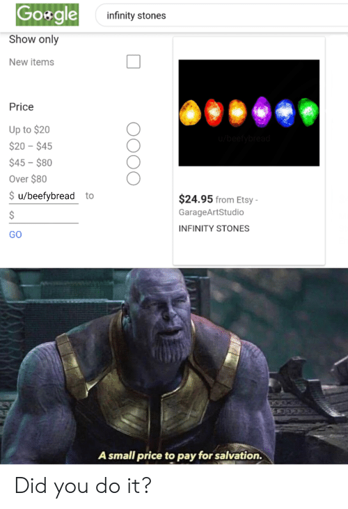 Goxgle Infinity Stones Show Only New Items Price Up to $20
