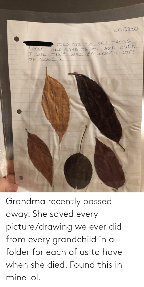 When She: Grandma recently passed away. She saved every picture/drawing we ever did from every grandchild in a folder for each of us to have when she died. Found this in mine lol.
