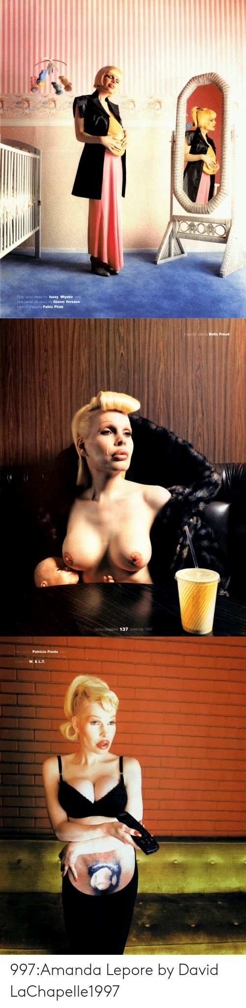 Versace: Gray wool dress by Issey Miyake over  pink mixed-sik dress by Gianni Versace  eather shoes by Fabio Piras   Faux-fur coat by Bella Freud  Detour Magazine 137 June/July 1997   a by  Patricia Fields  by 997:Amanda Lepore by David LaChapelle1997