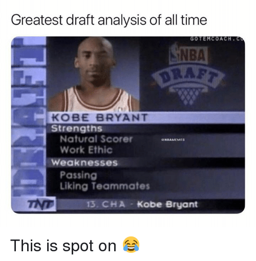 Kobe Bryant, Nba, and Work: Greatest draft analysis of all time  NBA  DRAF  GOTEMCOACH. C  KOBE BRYANT  Strengths  Natural Scorer  Work Ethic  ENBAMEMES  Weaknesses  Passing  Liking Teammates  13. CHA Kobe Bryant This is spot on 😂