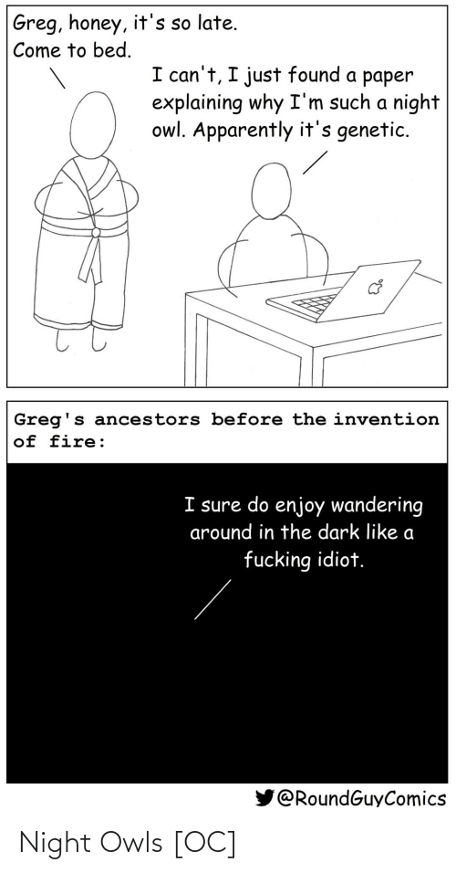 Idiot: Greg, honey, it's so late.  Come to bed.  I can't, I just found a paper  explaining why I'm such a night  owl. Apparently it's genetic.  Greg's ancestors before the invention  of fire:  I sure do enjoy wandering  around in the dark like a  fucking idiot.  @RoundGuyComics Night Owls [OC]