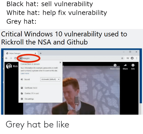 hat: Grey hat be like