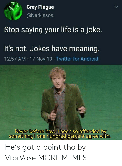 tho: Grey Plague  @Narkissos  Stop saying your life is a joke.  It's not. Jokes have meaning.  12:57 AM 17 Nov 19 Twitter for Android  Never before have I been so offended by  something I one hundred percent agree with. He's got a point tho by VforVase MORE MEMES