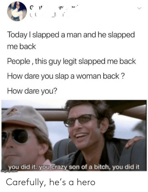 slap: Gt  Today I slapped a man and he slapped  me back  People, this guy legit slapped me back  How dare you slap a woman back?  How dare you?  you did it. you Crazy son of a bitch, you did it  imgilip.com Carefully, he's a hero