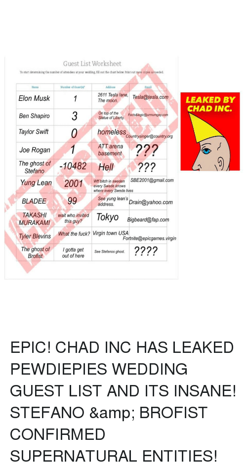 yung lean: Guest List Worksheet  To start determining the number of attendees at your wdding,fill out the chan below Print out more copies as needed  Name  Numbe of Gue  Address  Email  2611 Tesla lane, Tesla@tesla.com  The moon  Elon Musk  Ben Shapiro  Tayor if0  LEAKED BY  CHAD INC.  On top of the  Statue of Liberty  Facts&logic@urmumgay.com  homeless caumtpyingneceumyer  Countrysinger@countryo  Joe Rogan1Aarnen 2  ATT arena  basement  The ghost of -10482 Hell  Stefano  Wtf bitch in sweden SBE2001@gmail.com  Yung Lean  2001  very Swedo nows  where every Swede lives  BLADEE99 Sddryneansyahoo.com  TAKASHI wait who invited Tokyo Bigbeard@fap.com  MURAKAMIthis guy?  Tyler Blevins What the fuck? Virgin town USA  The ghost ofIgotta get .???  Fortnite@epicgames.virgin  See Stefanos ghost.  Brofist  out of here