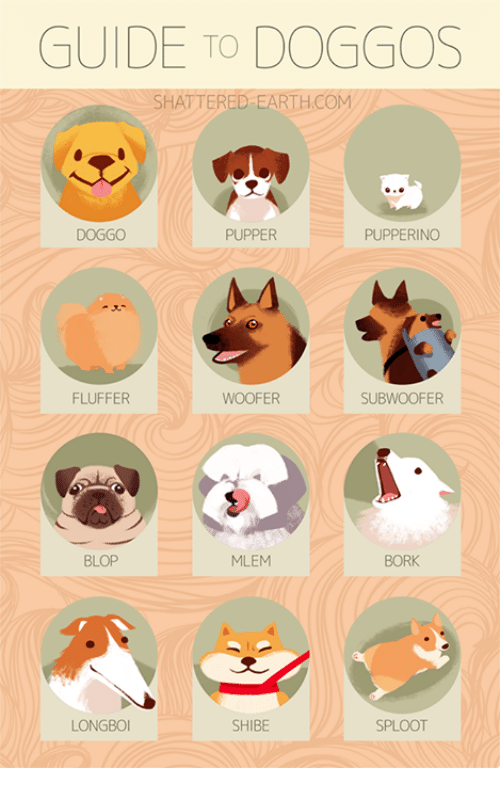 Woofe: GUIDE TO DOGGOS  SHATTERED-EARTH.COM  DOGGO  PUPPER  PUPPERINO  FLUFFER  WOOFE  SUBWOOFER  BLOP  MLEM  BORK  LONGBOI  SHIBE  SPLOOT