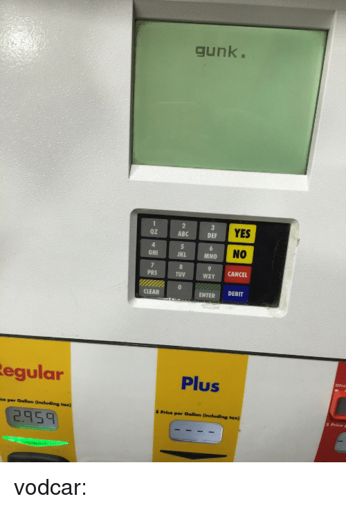 Mno: gunk.  Oz  ABC  YES  DEF  NO  GHI  JKL  MNO  PRS  TUV  WXY CANCEL  CLEAR  ENTER DEBIT  egular  Plus  She  ce per Gallon (including tax)  $ Price per Gallon (including taxx)  2.95  $ PriceF vodcar:
