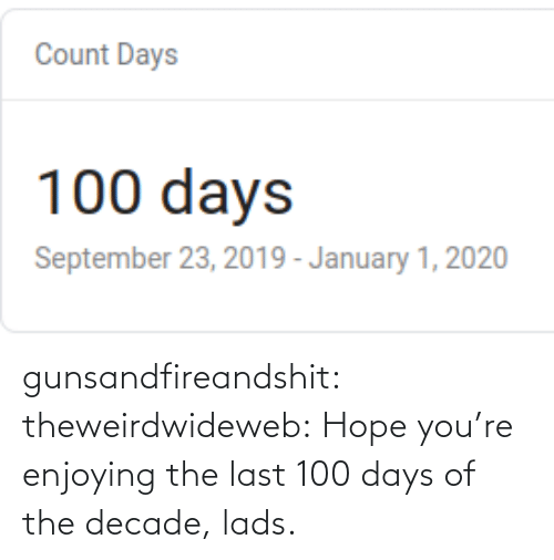 The Last: gunsandfireandshit: theweirdwideweb:  Hope you're enjoying the last 100 days of the decade, lads.