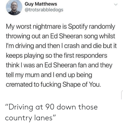 """Driving, Fucking, and Ed Sheeran: Guy Matthews  @trotsrabbledogs  My worst nightmare is Spotify randomly  throwing out an Ed Sheeran song whilst  I'm driving and then I crash and die but it  keeps playing so the first responders  think I was an Ed Sheeran fan and they  tell my mum and l end up being  cremated to fucking Shape of You. """"Driving at 90 down those country lanes"""""""