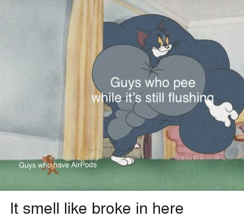 Guys Who Pee While It's Still Flushi Guys Who Have AirPods