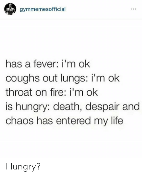 Fire, Hungry, and Life: gymmemesofficial  has a fever: i'm ok  coughs out lungs: i'm ok  throat on fire: i'm ok  is hungry: death, despair and  chaos has entered my life Hungry?