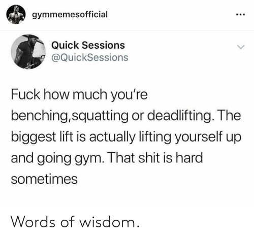 Gym, Shit, and Fuck: gymmemesofficial  Quick Sessions  @QuickSessions  Fuck how much you're  benching,squatting or deadlifting. The  biggest lift is actually lifting yourself up  and going gym. That shit is hard  sometimes Words of wisdom.
