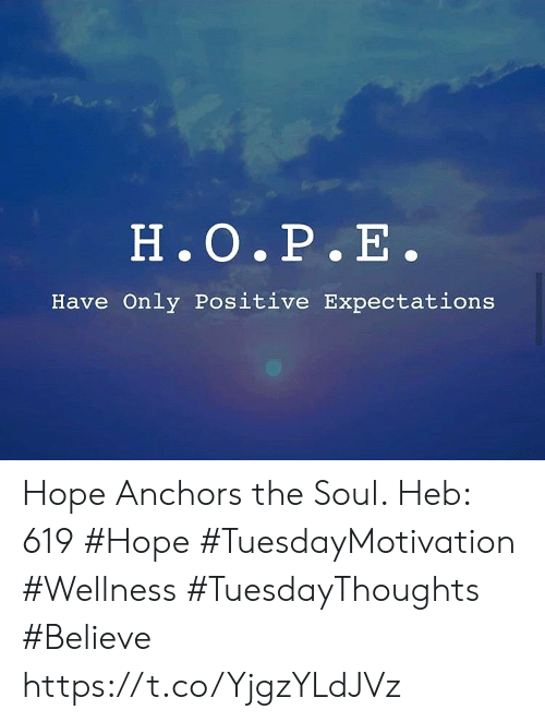 Hope, Soul, and Believe: H.O.P.E.  Have Only Positive Expectations Hope Anchors the Soul.   Heb: 619 #Hope  #TuesdayMotivation #Wellness #TuesdayThoughts #Believe https://t.co/YjgzYLdJVz