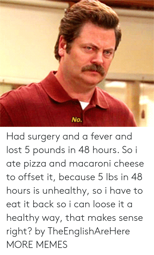offset: Had surgery and a fever and lost 5 pounds in 48 hours. So i ate pizza and macaroni cheese to offset it, because 5 lbs in 48 hours is unhealthy, so i have to eat it back so i can loose it a healthy way, that makes sense right? by TheEnglishAreHere MORE MEMES