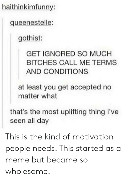 Meme, Wholesome, and Accepted: haithinkimfunny:  queenestelle:  gothist:  GET IGNORED SO MUCH  BITCHES CALL ME TERMS  AND CONDITIONS  at least you get accepted no  matter what  that's the most uplifting thing i've  seen all day This is the kind of motivation people needs. This started as a meme but became so wholesome.
