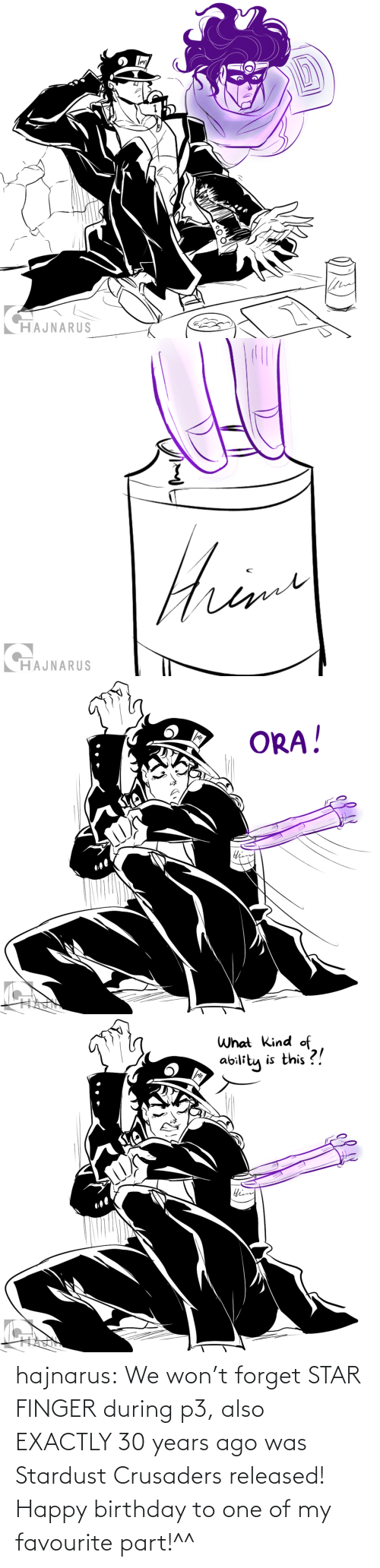 Happy Birthday: hajnarus:    We won't forget STAR FINGER during p3, also EXACTLY 30 years ago was Stardust Crusaders released! Happy birthday to one of my favourite part!^^