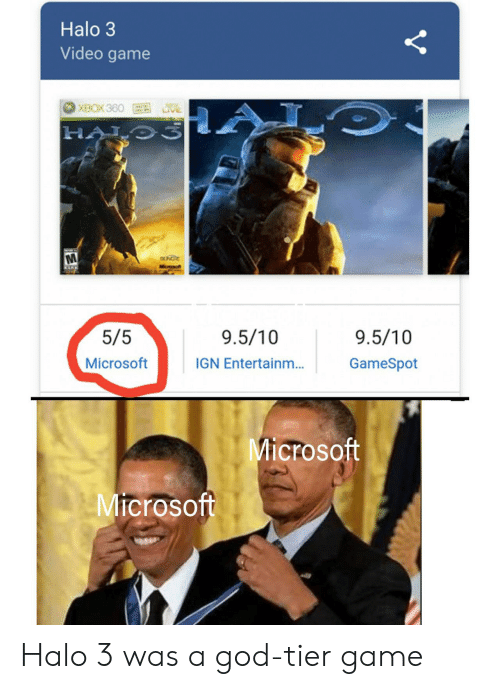video game: Halo 3  Video game  XBOX360  O  HALO3  Www  UNGRE  Kwww  5/5  9.5/10  9.5/10  Microsoft  IGN Entertainm...  GameSpot  Microsoft  Microsoft  Y Halo 3 was a god-tier game