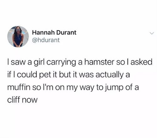 Memes, Saw, and Girl: Hannah Durant  @hdurant  I saw a girl carrying a hamster so l asked  if I could pet it but it was actually a  muffin so l'm on my way to jump of a  cliff now