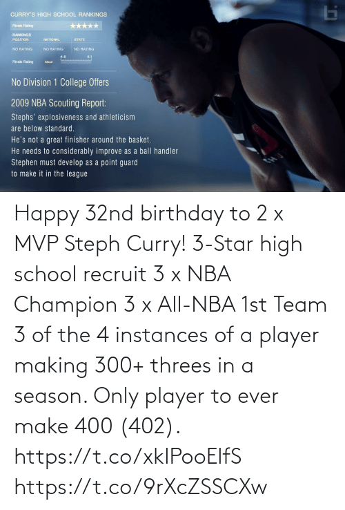 high school: Happy 32nd birthday to 2 x MVP Steph Curry!   3-Star high school recruit 3 x NBA Champion 3 x All-NBA 1st Team 3 of the 4 instances of a player making 300+ threes in a season. Only player to ever make 400 (402).   https://t.co/xkIPooElfS https://t.co/9rXcZSSCXw