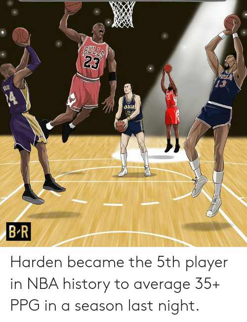 Nba, History, and Ppg: Harden became the 5th player in NBA history to average 35+ PPG in a season last night.