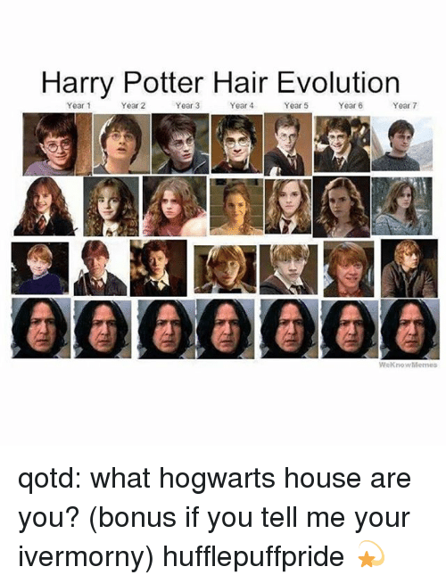 Harry Potter, Memes, and Evolution: Harry Potter Hair Evolution  Year 1  Year 2  Year 3  Year 4  Year 5  Year 6  Year 7  000@O00  WeKnowMemes qotd: what hogwarts house are you? (bonus if you tell me your ivermorny) hufflepuffpride 💫