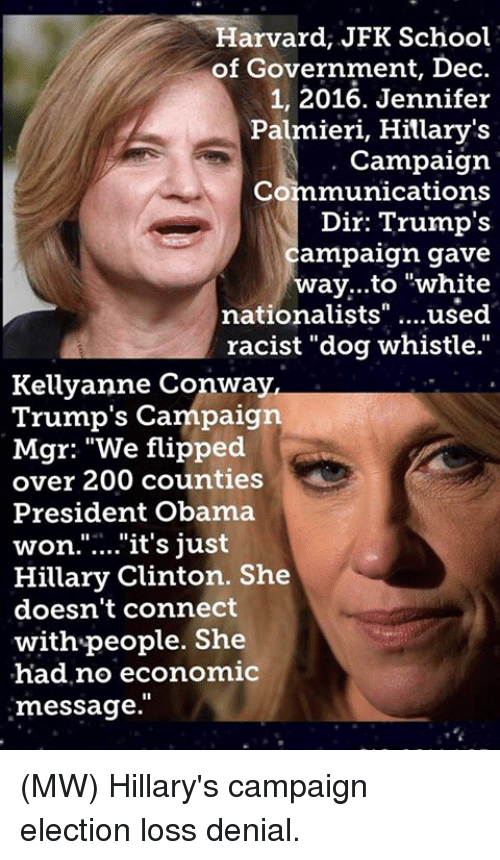 "dog whistle: Harvard, JFK School  of Government, Dec  1, 2016. Jennifer  Palmieri, Hillary's  Campaign.  Communications  Dir: Trump's  ampaign gave  way...to ""white  nationalists  used  racist ""dog whistle.""  Kellyanne Conway,  Trump's Campaign  Mgr: ""We flipped  over 200 counties  President Obama  won. it's just  Hillary Clinton. She  doesn't connect  with people. She  had no economic  message. (MW) Hillary's campaign election loss denial."