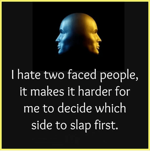 Memes, Two-Face, and 🤖: hate two faced people,  it makes it harder for  me to decide which  side to slap first.