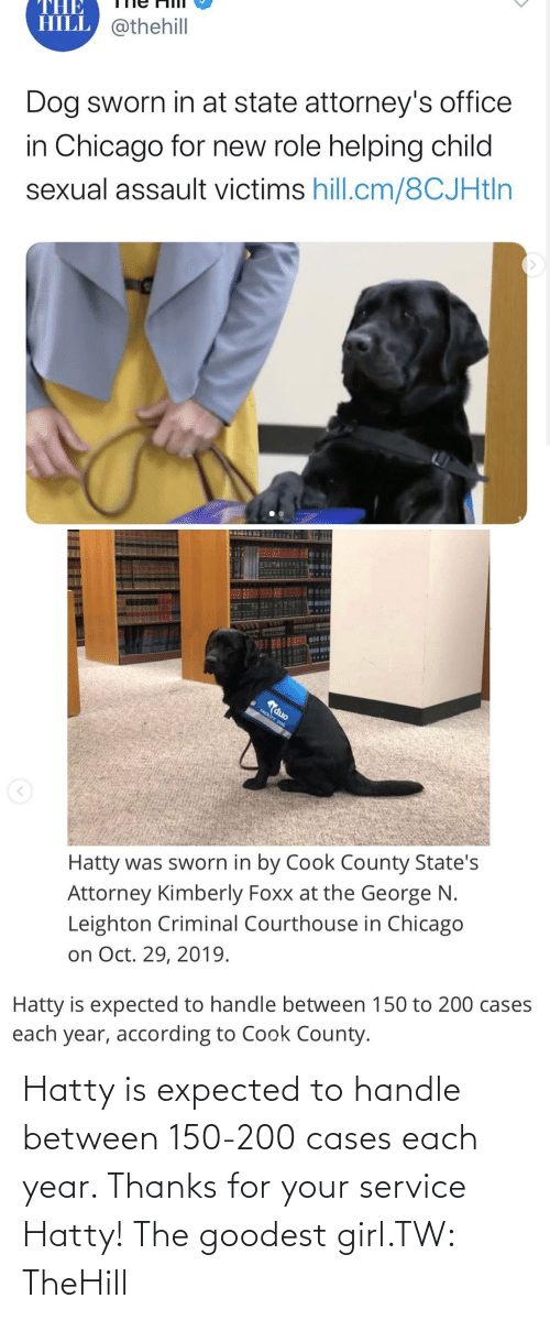 Between: Hatty is expected to handle between 150-200 cases each year. Thanks for your service Hatty! The goodest girl.TW: TheHill