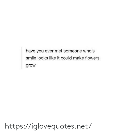 Met: have you ever met someone who's  smile looks like it could make flowers  grow https://iglovequotes.net/