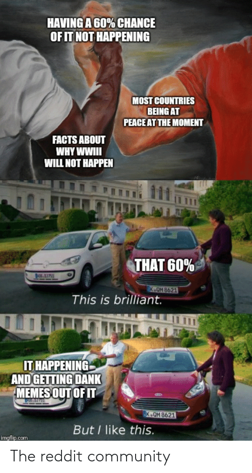 at-peace: HAVING A 60% CHANCE  OF IT NOT HAPPENING  MOST COUNTRIES  BEING AT  PEACE AT THE MOMENT  FACTS ABOUT  WHY WWIII  WILL NOT HAPPEN  LAS  THAT 60%  Os,3751  K.OM 8621  This is brilliant.  IT HAPPENING  AND GETTING DANK  MEMES OUT OF IT  K.QM 8621  But I like this.  imgflip.com The reddit community