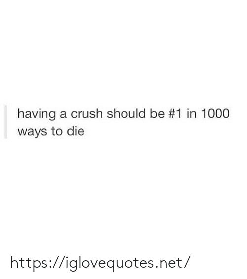 Crush: having a crush should be #1 in 1000  ways to die https://iglovequotes.net/
