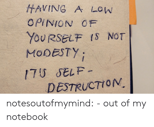 opinion: HAVING A LOW  OPINION OF  YOURSELF IS NOT  MODESTY  17U SELF-  DESTRUCTION notesoutofmymind:  - out of my notebook