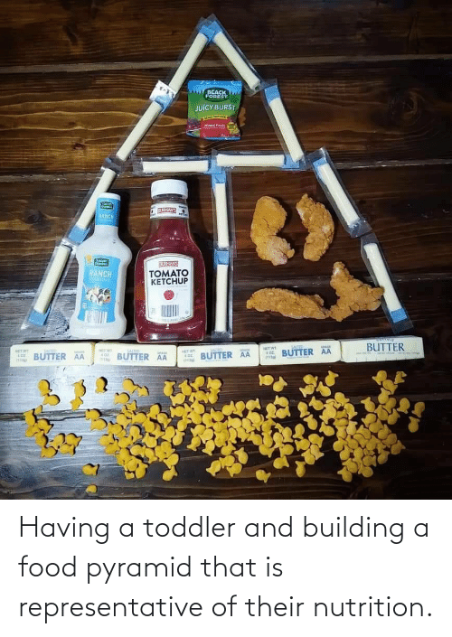 building: Having a toddler and building a food pyramid that is representative of their nutrition.