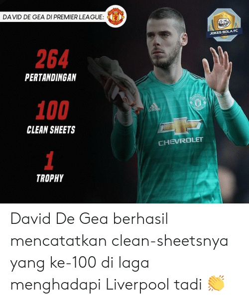 Anaconda, Memes, and Premier League: HE  DA VID DE GEA DI PREMIER LEAGUE:  JOKES BOLA FC  264  PERTANDINGAN  100  CLEAN SHEETS  CHEVROLET  TROPHY David De Gea berhasil mencatatkan clean-sheetsnya yang ke-100 di laga menghadapi Liverpool tadi 👏