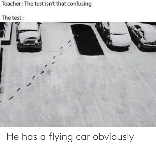 car: He has a flying car obviously