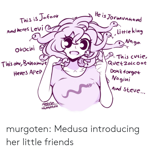 Friends, Tumblr, and Blog: He is Jormunaand  This is Jafaar  And heres Levi  littieking  Na ga  ovochi  This cutie,  Quetzalcoat  Dont fovgee  Nagini  This one, Bahamut  Heves Apep  And Steve...  Medusa  MuVGoten murgoten:  Medusa introducing her little friends