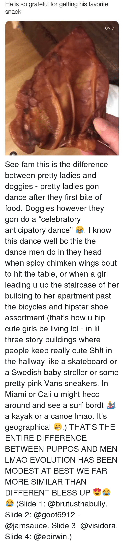 """Bless Up, Cute, and Fam: He is so grateful for getting his favorite  snack  0:47 See fam this is the difference between pretty ladies and doggies - pretty ladies gon dance after they first bite of food. Doggies however they gon do a """"celebratory anticipatory dance"""" 😂. I know this dance well bc this the dance men do in they head when spicy chimken wings bout to hit the table, or when a girl leading u up the staircase of her building to her apartment past the bicycles and hipster shoe assortment (that's how u hip cute girls be living lol - in lil three story buildings where people keep really cute Sh!t in the hallway like a skateboard or a Swedish baby stroller or some pretty pink Vans sneakers. In Miami or Cali u might hecc around and see a surf bordt 🏄♀️, a kayak or a canoe lmao. It's geographical 😬.) THAT'S THE ENTIRE DIFFERENCE BETWEEN PUPPOS AND MEN LMAO EVOLUTION HAS BEEN MODEST AT BEST WE FAR MORE SIMILAR THAN DIFFERENT BLESS UP 😍😂😂 (Slide 1: @brutusthabully. Slide 2: @goof6912 - @jamsauce. Slide 3: @visidora. Slide 4: @ebirwin.)"""
