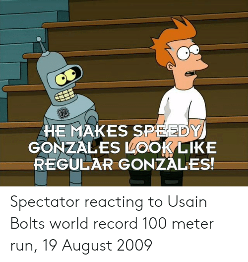 Anaconda, Run, and Usain Bolt: HE MAKES SPEEDY  GONZALES LOOKLIKE  REGULAR GONZALES! Spectator reacting to Usain Bolts world record 100 meter run, 19 August 2009