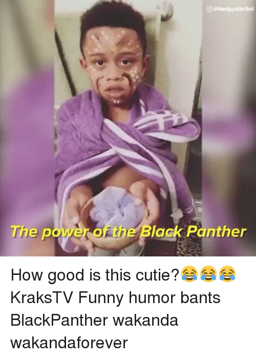 Funny, Memes, and Black: he power of the Black Panther How good is this cutie?😂😂😂 KraksTV Funny humor bants BlackPanther wakanda wakandaforever