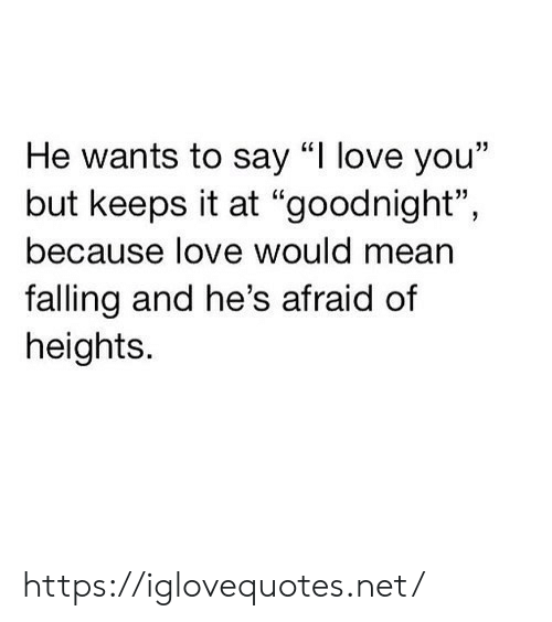 "Say I: He wants to say ""I love you""  but keeps it at ""goodnight"",  because love would mean  falling and he's afraid of  heights. https://iglovequotes.net/"