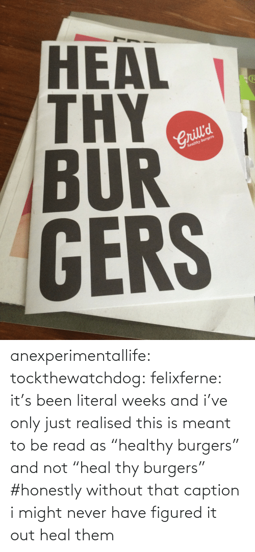 "Without: HEAL  BUR  GERS  2  Crill'd  healthy burgers anexperimentallife: tockthewatchdog:  felixferne:  it's been literal weeks and i've only just realised this is meant to be read as ""healthy burgers"" and not ""heal thy burgers""  #honestly without that caption i might never have figured it out   heal them"