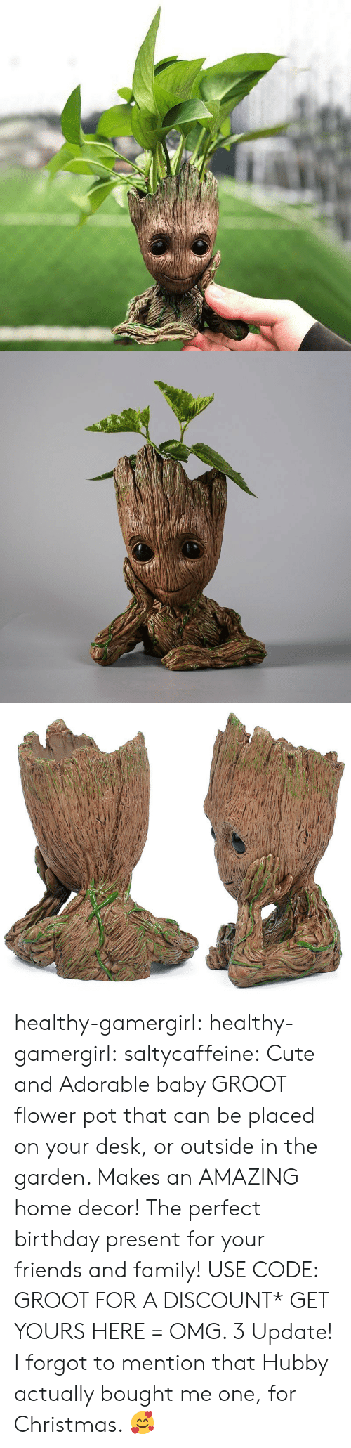 Birthday, Christmas, and Cute: healthy-gamergirl:  healthy-gamergirl:  saltycaffeine: Cute and Adorable baby GROOT flower pot that can be placed on your desk, or outside in the garden. Makes an AMAZING home decor! The perfect birthday present for your friends and family! USE CODE: GROOT FOR A DISCOUNT* GET YOURS HERE=  OMG. 3  Update! I forgot to mention that Hubby actually bought me one, for Christmas. 🥰