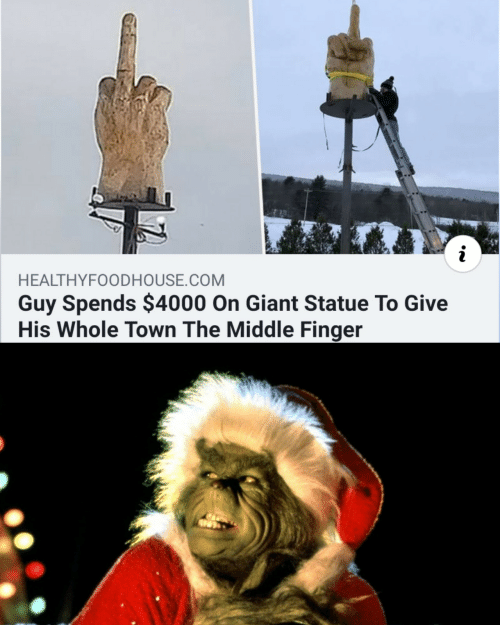 The Middle: HEALTHYFOODHOUSE.COM  Guy Spends $4000 On Giant Statue To Give  His Whole Town The Middle Finger
