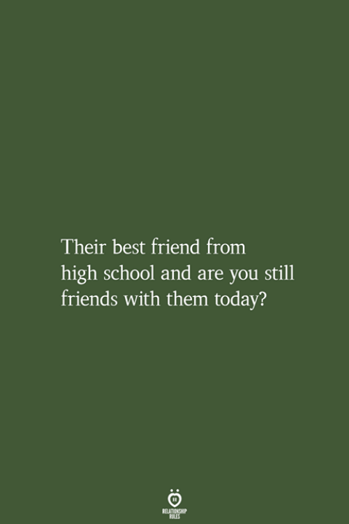 Best Friend, Friends, and School: heir best friend from  high school and are you still  friends with them today?  RELATIONSHIP  LES